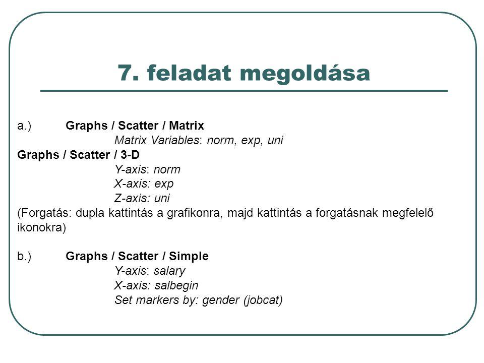 7. feladat megoldása a.) Graphs / Scatter / Matrix