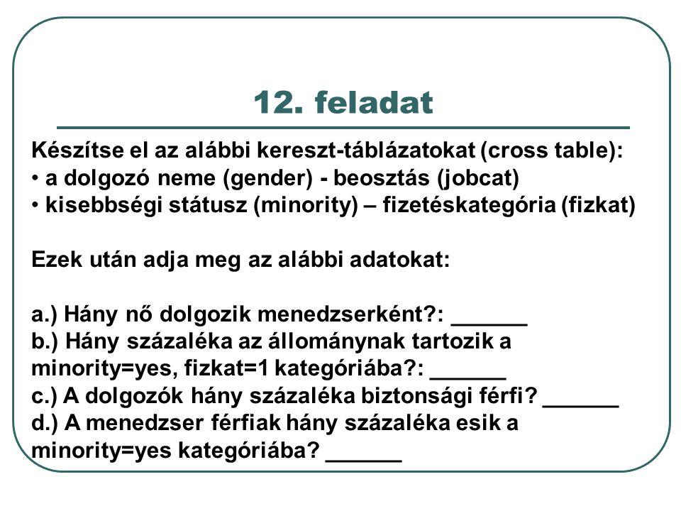 12. feladat Készítse el az alábbi kereszt-táblázatokat (cross table):