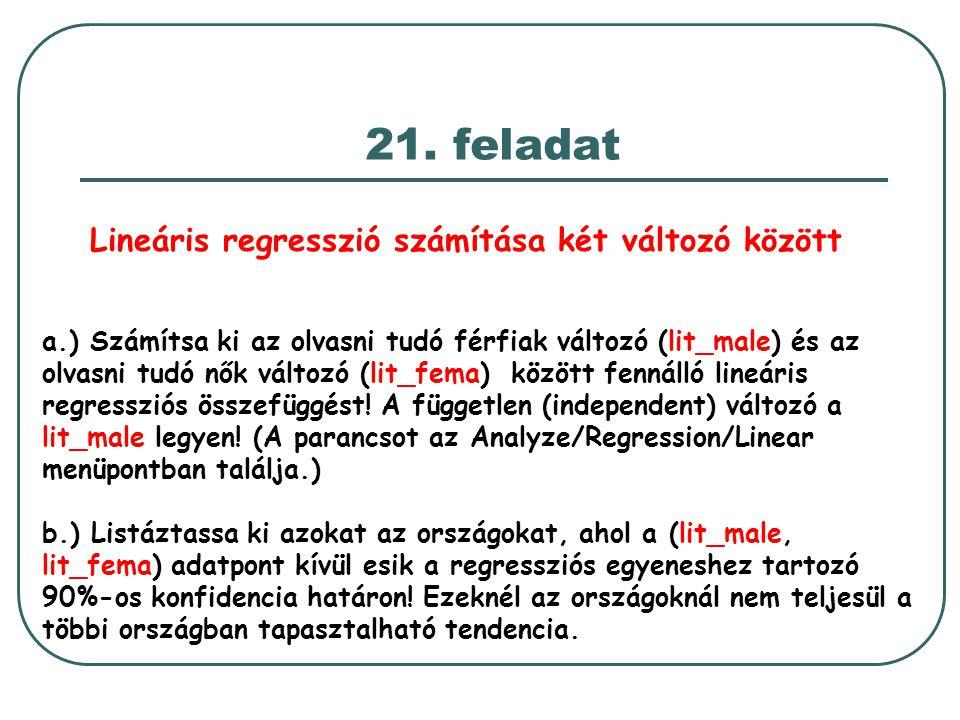 Lineáris regresszió számítása két változó között