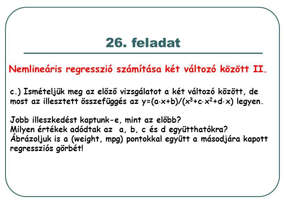 Nemlineáris regresszió számítása két változó között II.