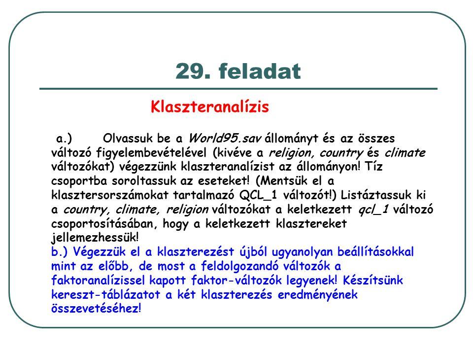 29. feladat Klaszteranalízis