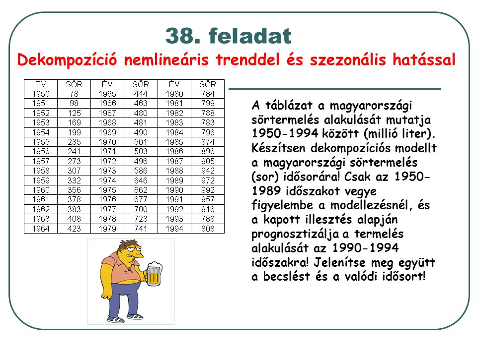 Dekompozíció nemlineáris trenddel és szezonális hatással