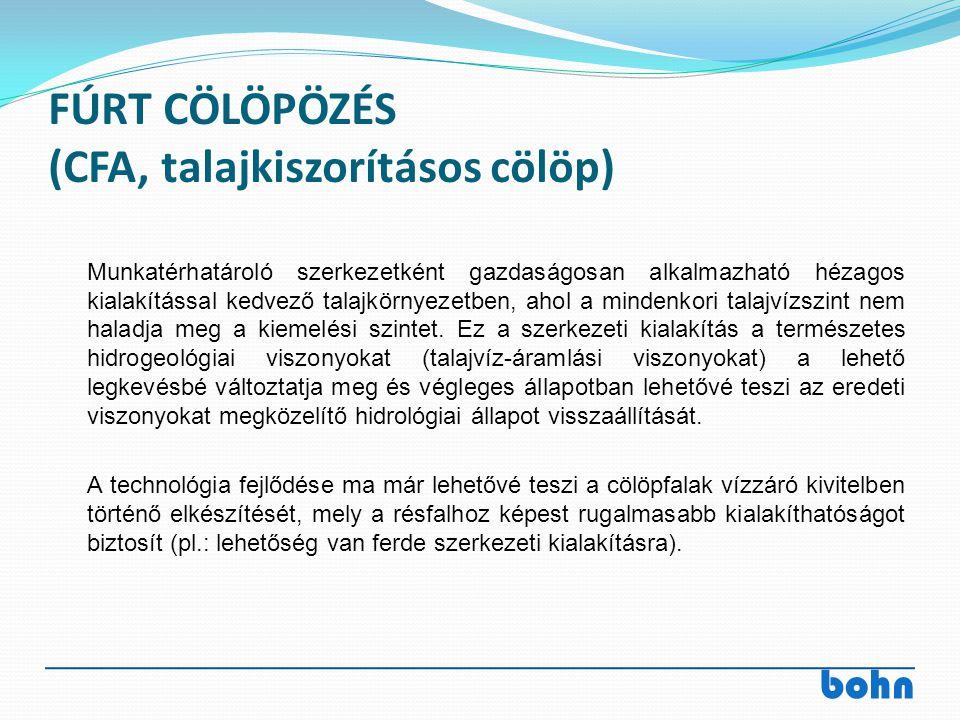 FÚRT CÖLÖPÖZÉS (CFA, talajkiszorításos cölöp)