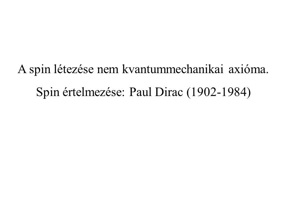A spin létezése nem kvantummechanikai axióma.