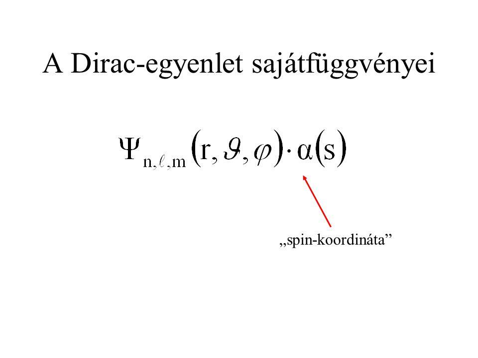 A Dirac-egyenlet sajátfüggvényei