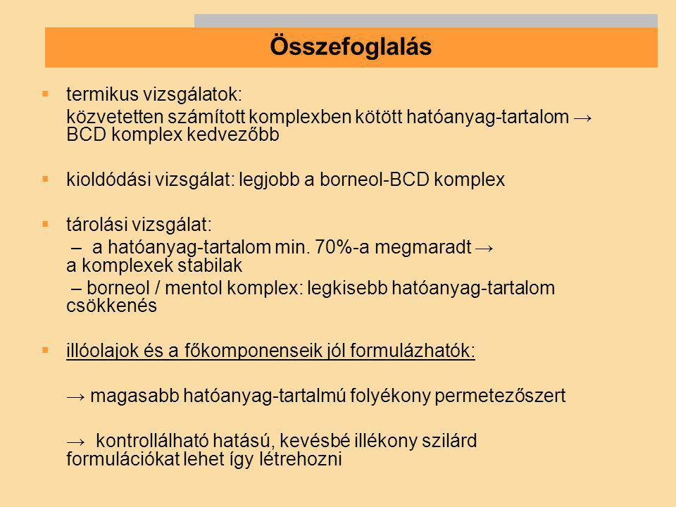 Összefoglalás termikus vizsgálatok:
