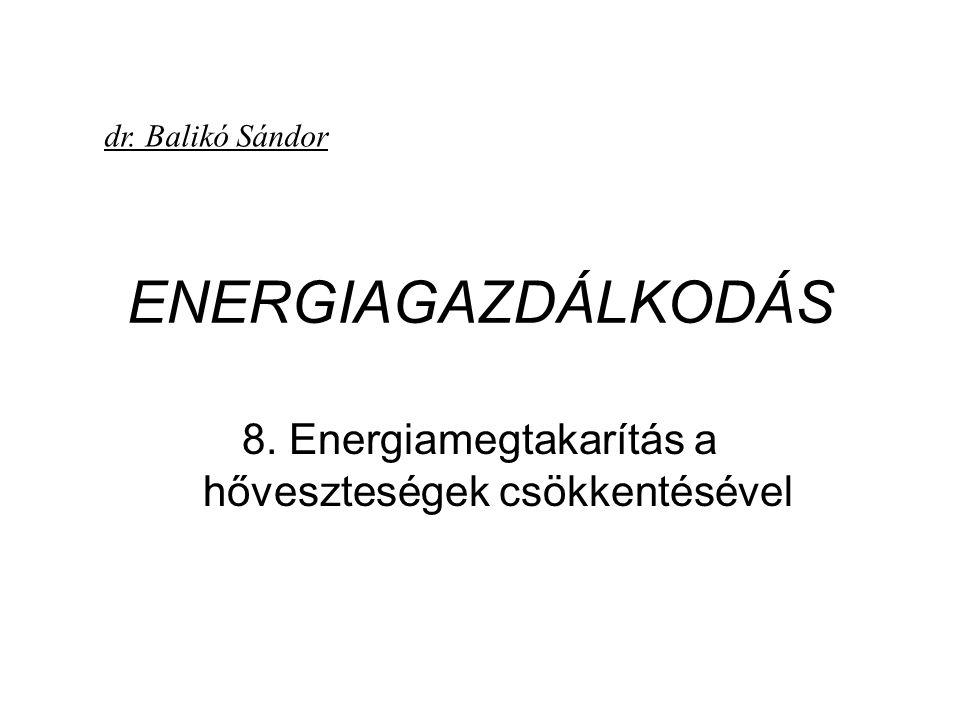 8. Energiamegtakarítás a hőveszteségek csökkentésével