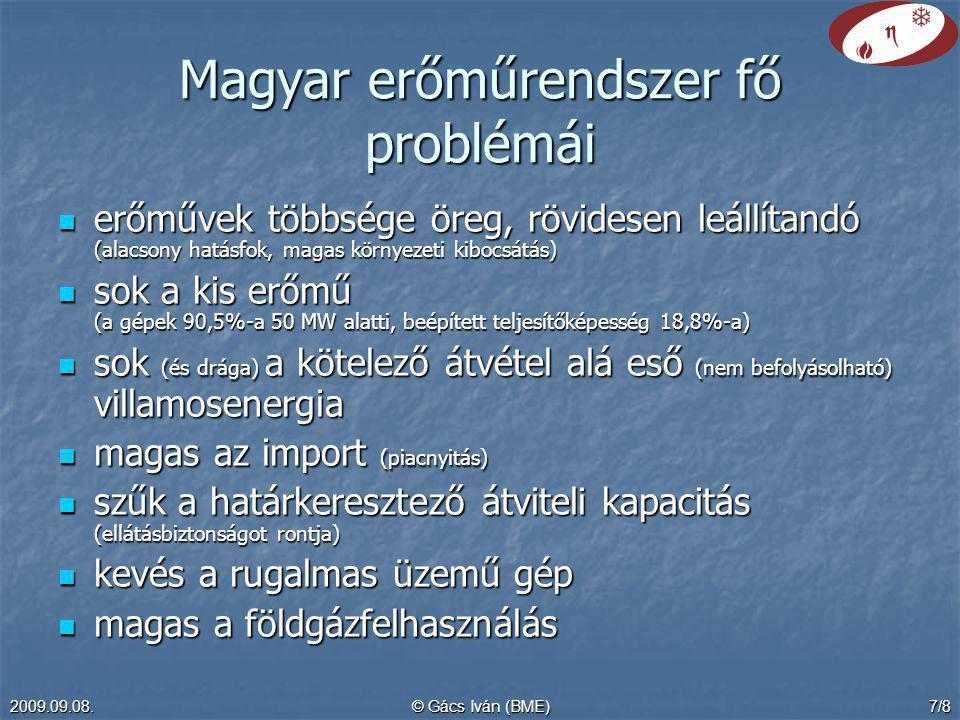 Magyar erőműrendszer fő problémái
