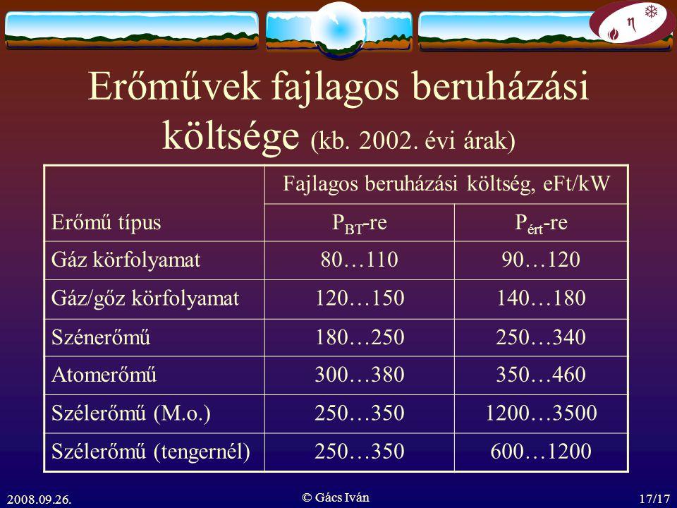 Erőművek fajlagos beruházási költsége (kb. 2002. évi árak)