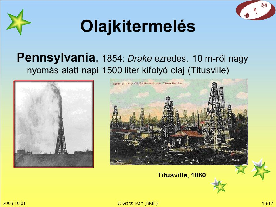 Olajkitermelés Pennsylvania, 1854: Drake ezredes, 10 m-ről nagy nyomás alatt napi 1500 liter kifolyó olaj (Titusville)