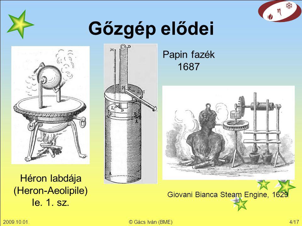 Gőzgép elődei Papin fazék 1687 Héron labdája (Heron-Aeolipile)
