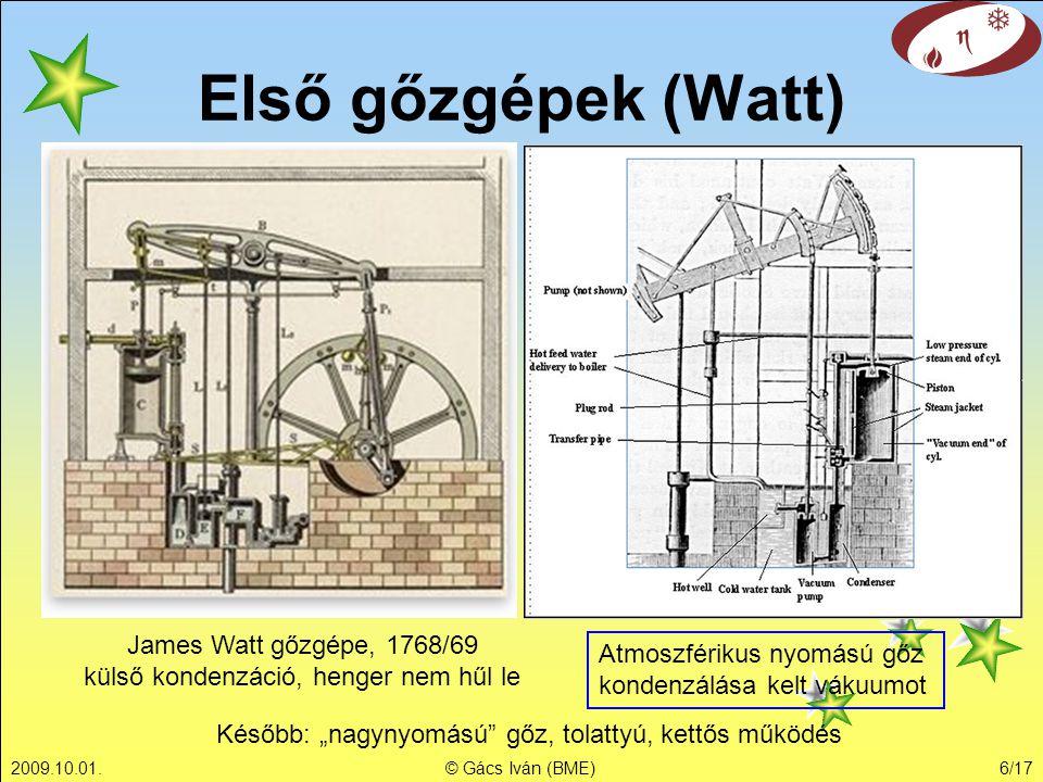 James Watt gőzgépe, 1768/69 külső kondenzáció, henger nem hűl le
