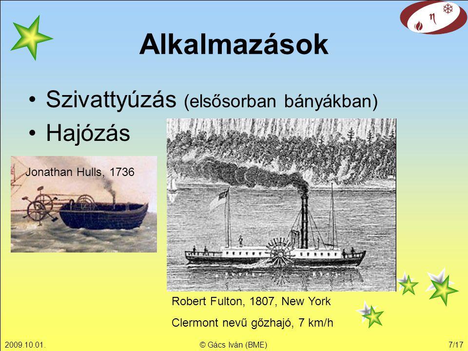 Alkalmazások Szivattyúzás (elsősorban bányákban) Hajózás
