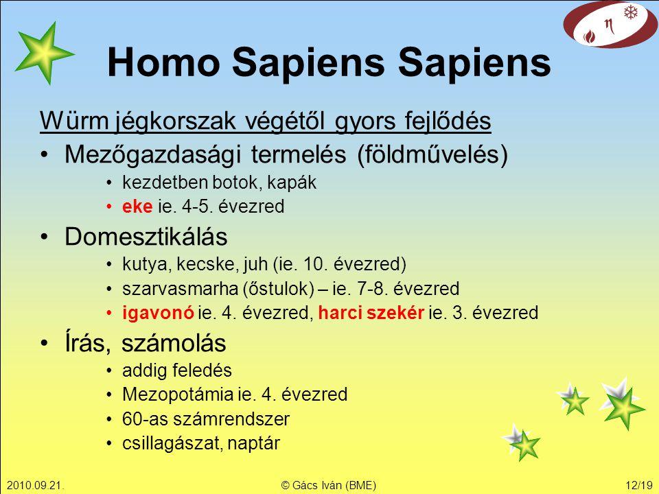 Homo Sapiens Sapiens Würm jégkorszak végétől gyors fejlődés