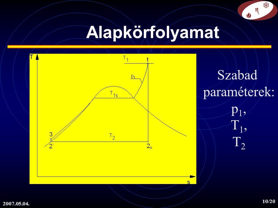 Alapkörfolyamat Szabad paraméterek: p1, T1, T2 2007.05.04.