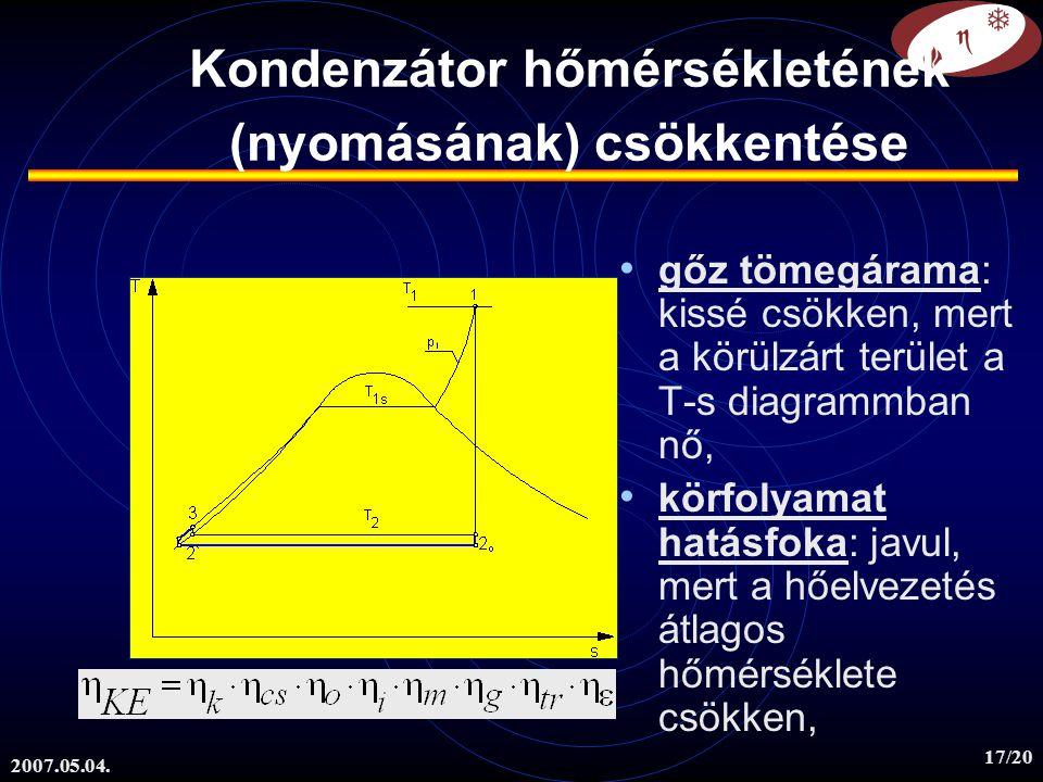 Kondenzátor hőmérsékletének (nyomásának) csökkentése