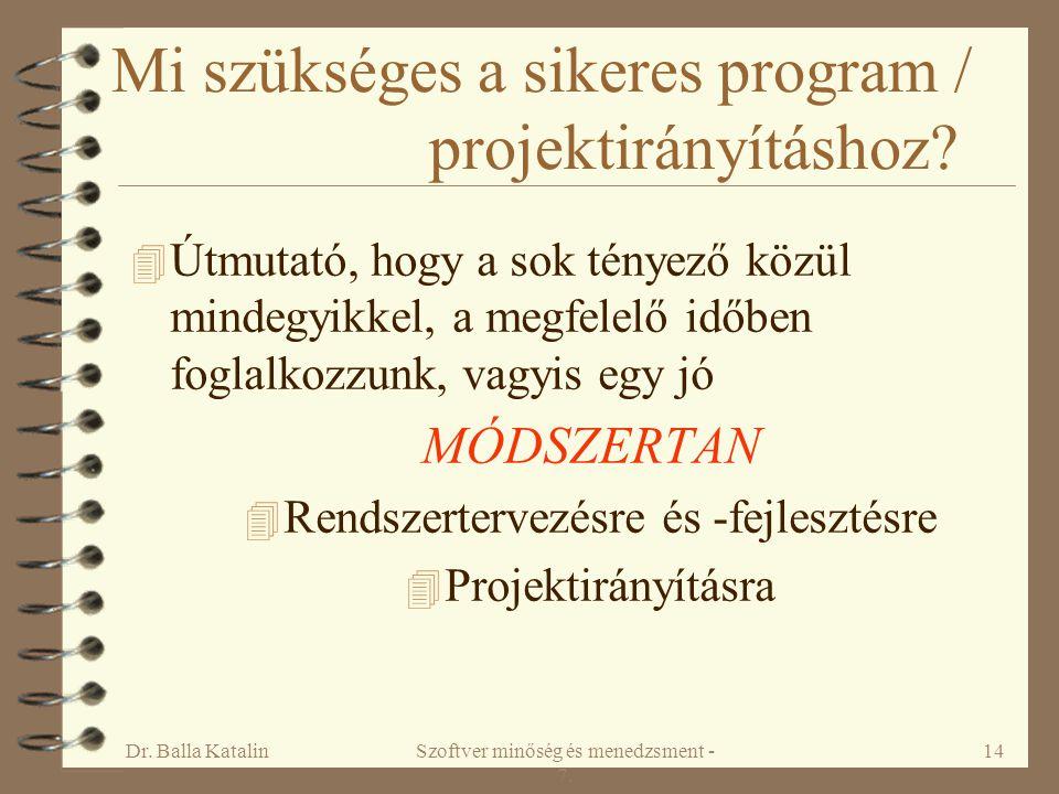 Mi szükséges a sikeres program / projektirányításhoz