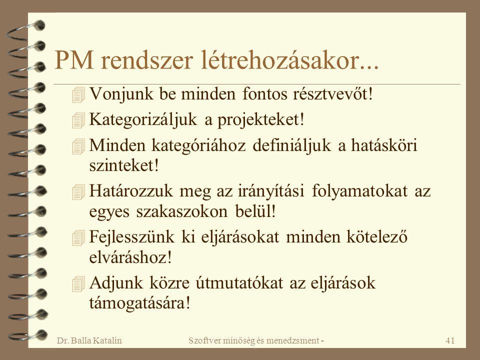 PM rendszer létrehozásakor...