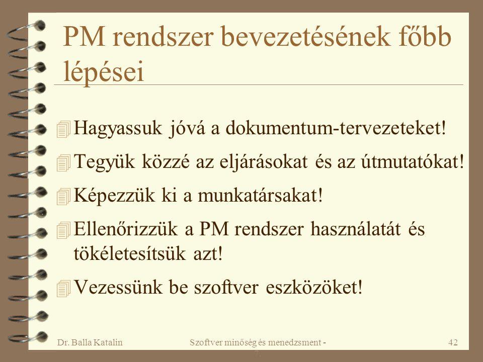 PM rendszer bevezetésének főbb lépései