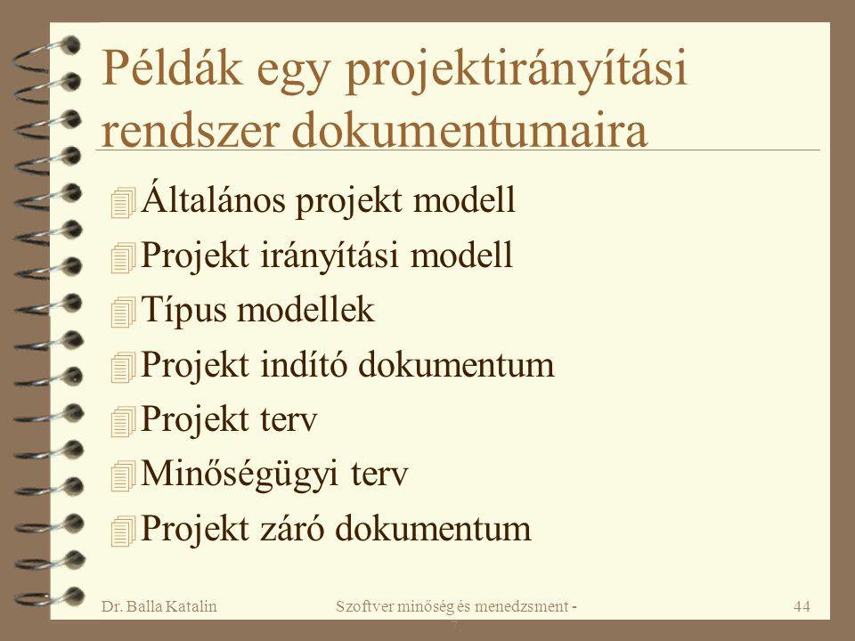 Példák egy projektirányítási rendszer dokumentumaira