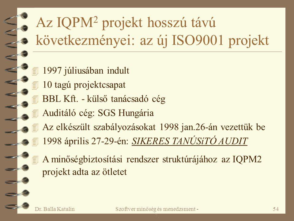 Az IQPM2 projekt hosszú távú következményei: az új ISO9001 projekt