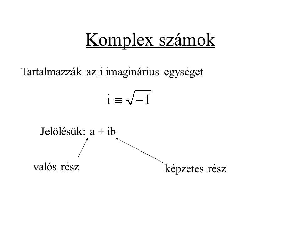 Komplex számok Tartalmazzák az i imaginárius egységet