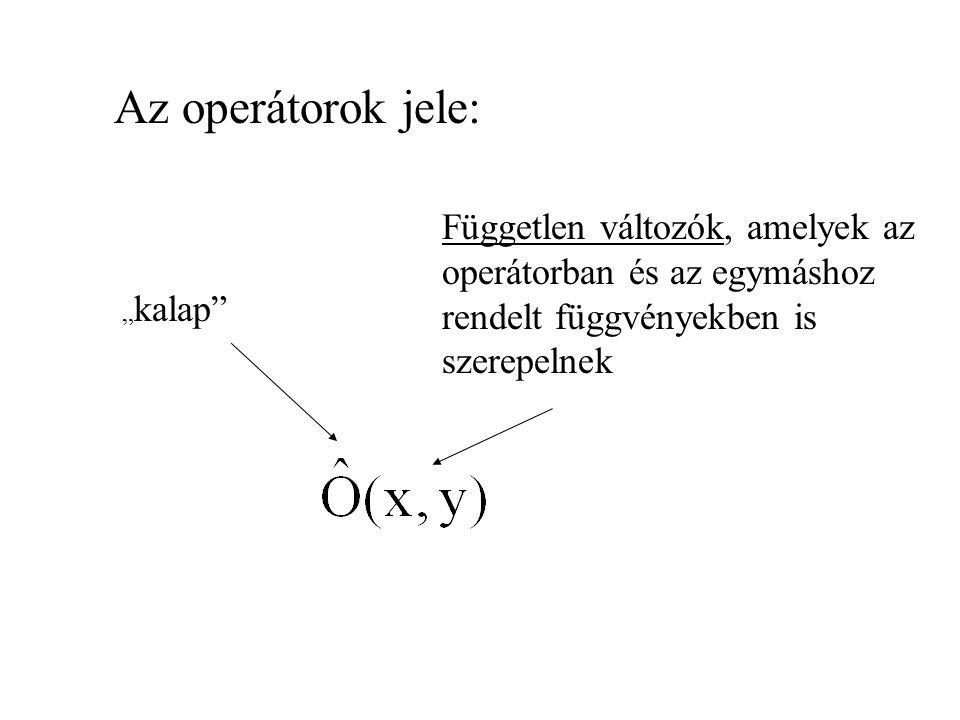 Az operátorok jele: Független változók, amelyek az operátorban és az egymáshoz rendelt függvényekben is szerepelnek.