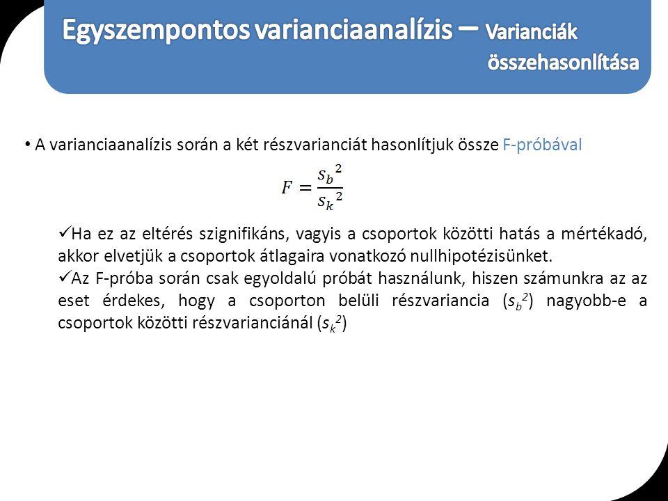 Egyszempontos varianciaanalízis – Varianciák