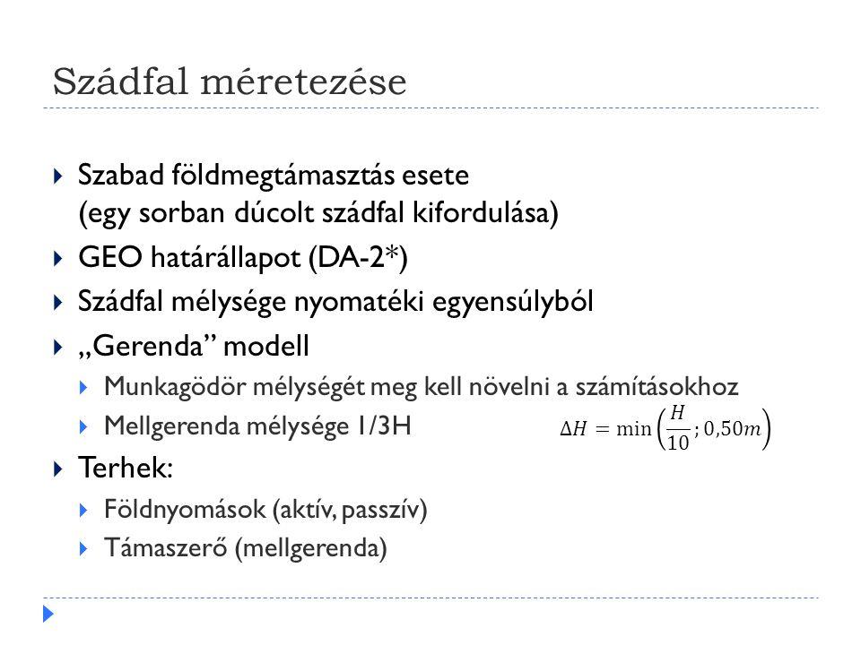 Szádfal méretezése Szabad földmegtámasztás esete (egy sorban dúcolt szádfal kifordulása) GEO határállapot (DA-2*)