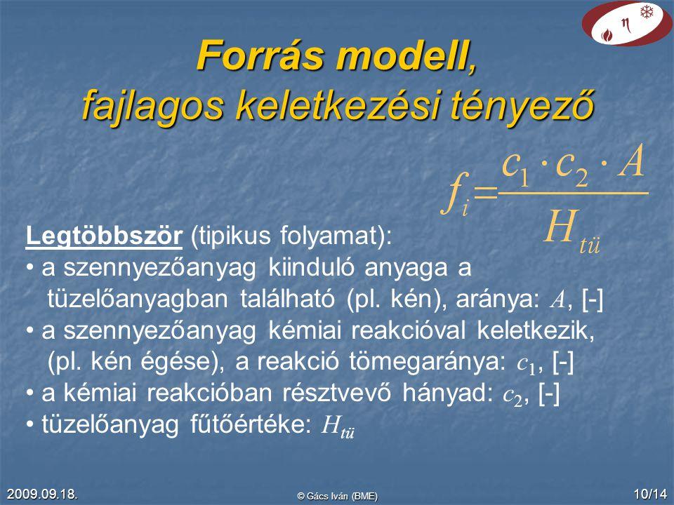 Forrás modell, fajlagos keletkezési tényező