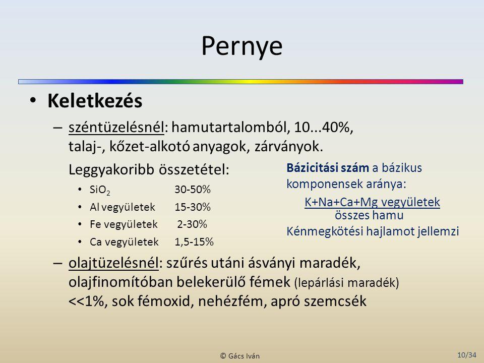 Pernye Keletkezés. széntüzelésnél: hamutartalomból, 10...40%, talaj-, kőzet-alkotó anyagok, zárványok.