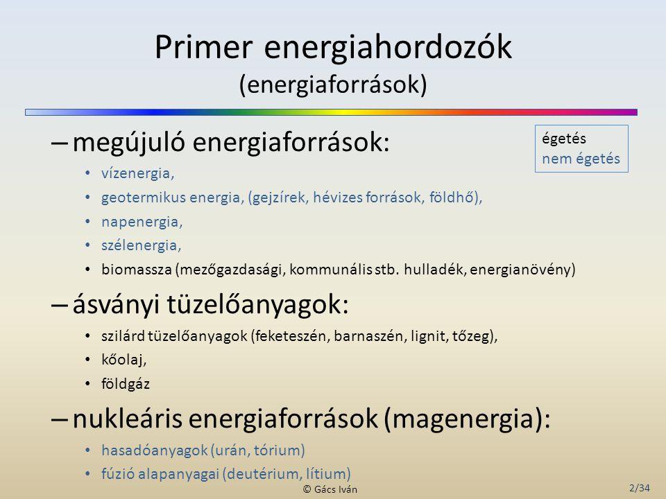 Primer energiahordozók (energiaforrások)