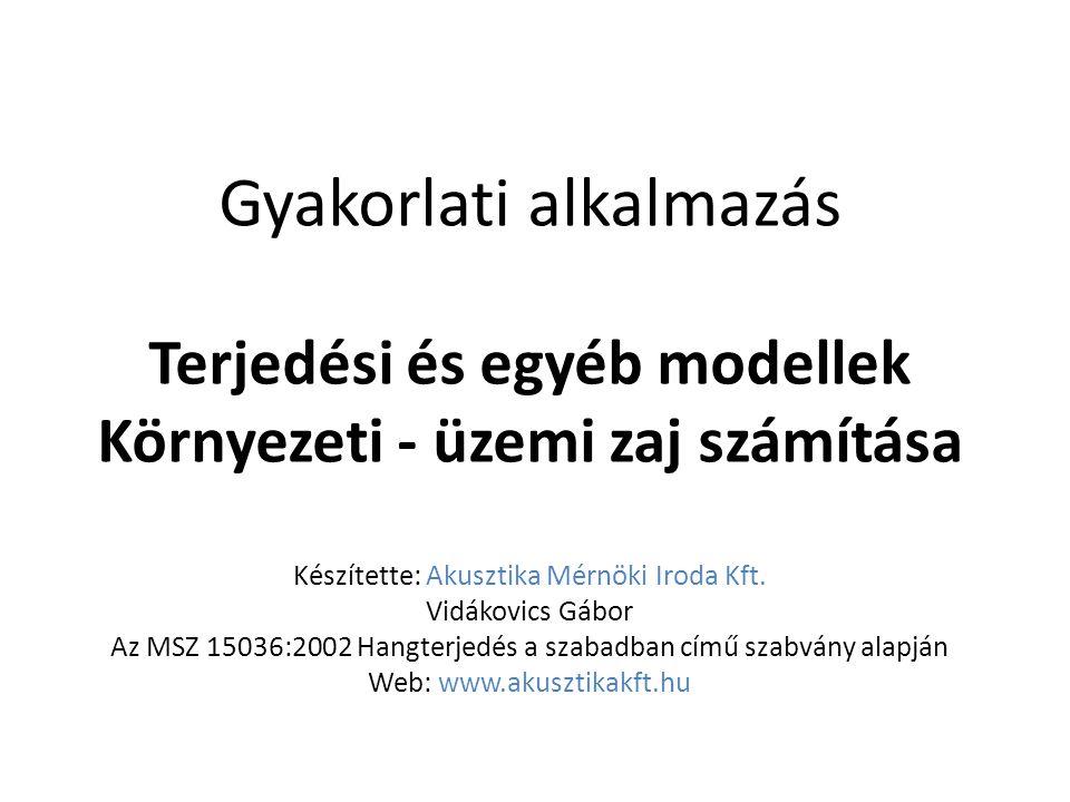 Gyakorlati alkalmazás Terjedési és egyéb modellek Környezeti - üzemi zaj számítása Készítette: Akusztika Mérnöki Iroda Kft.