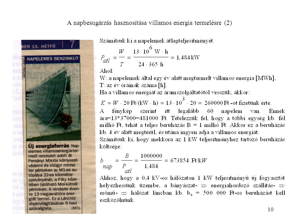 A napbesugárzás hasznosítása villamos energia termelésre (2)