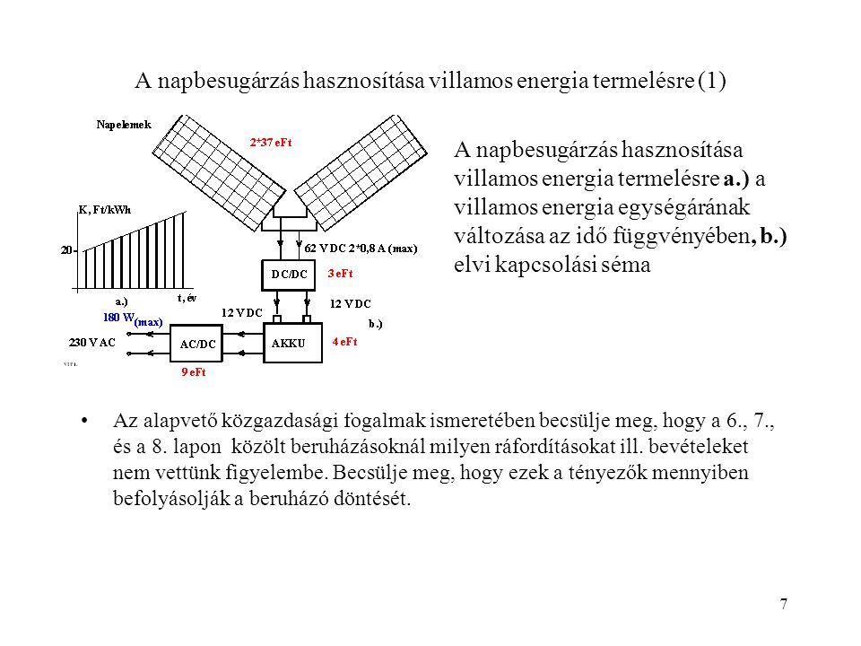 A napbesugárzás hasznosítása villamos energia termelésre (1)