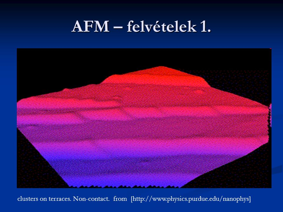 AFM – felvételek 1. clusters on terraces. Non-contact.