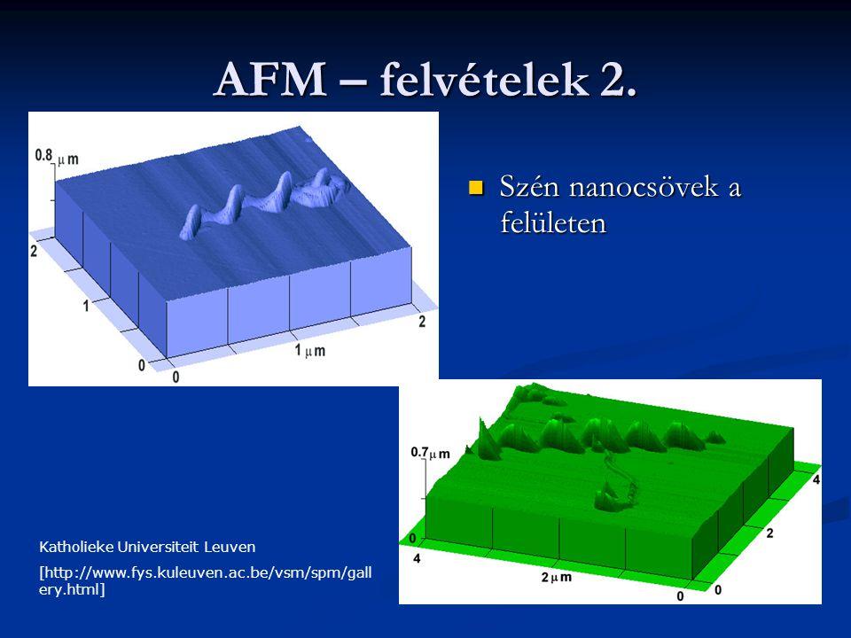AFM – felvételek 2. Szén nanocsövek a felületen