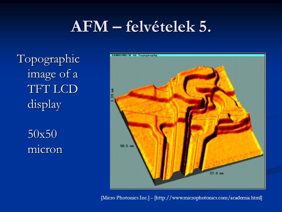 AFM – felvételek 5. Topographic image of a TFT LCD display 50x50 micron.