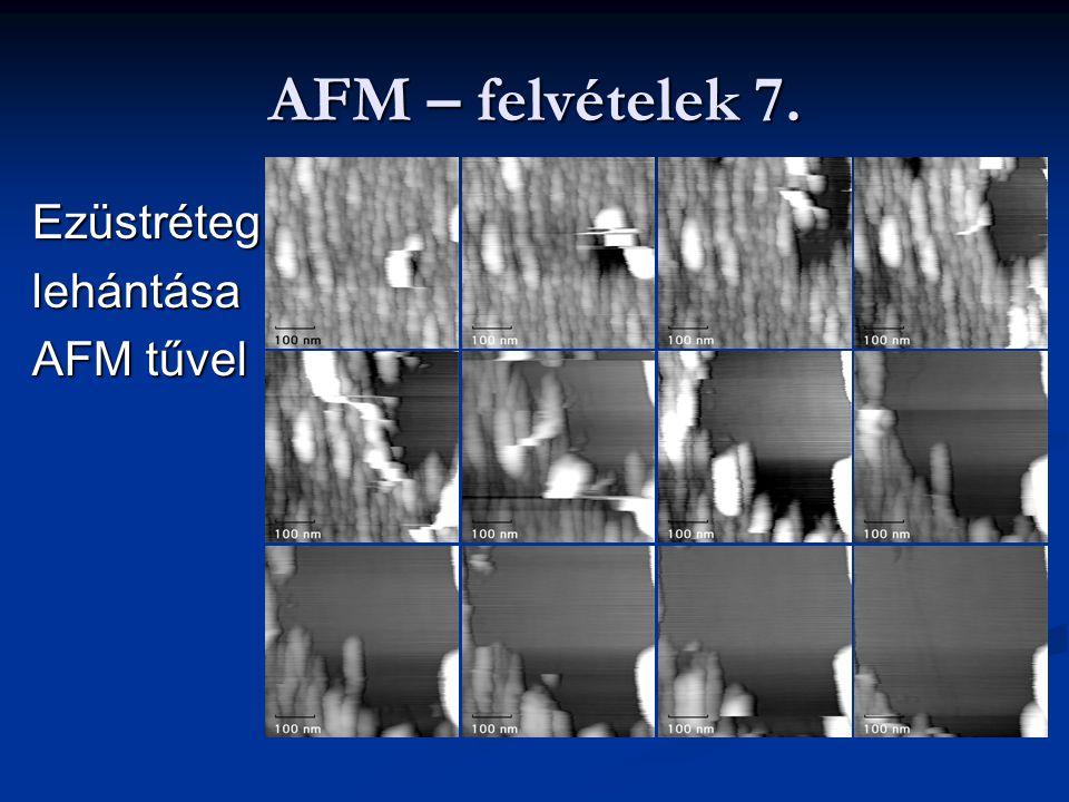 AFM – felvételek 7. Ezüstréteg lehántása AFM tűvel