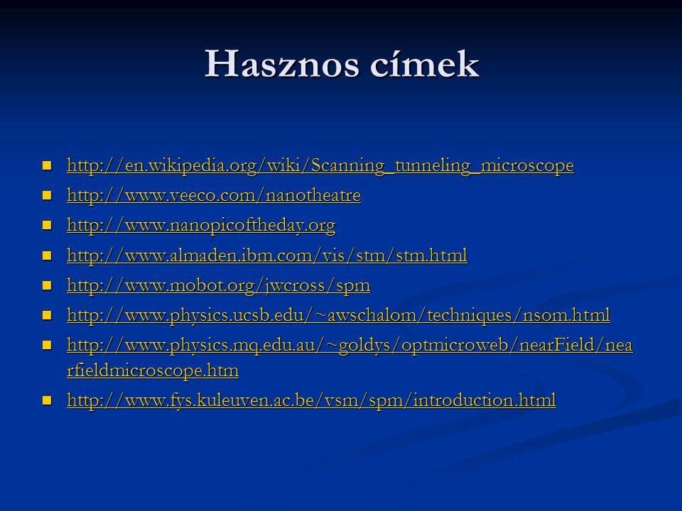 Hasznos címek http://en.wikipedia.org/wiki/Scanning_tunneling_microscope. http://www.veeco.com/nanotheatre.
