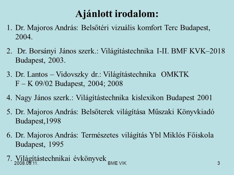 Ajánlott irodalom: Dr. Majoros András: Belsőtéri vizuális komfort Terc Budapest, 2004.