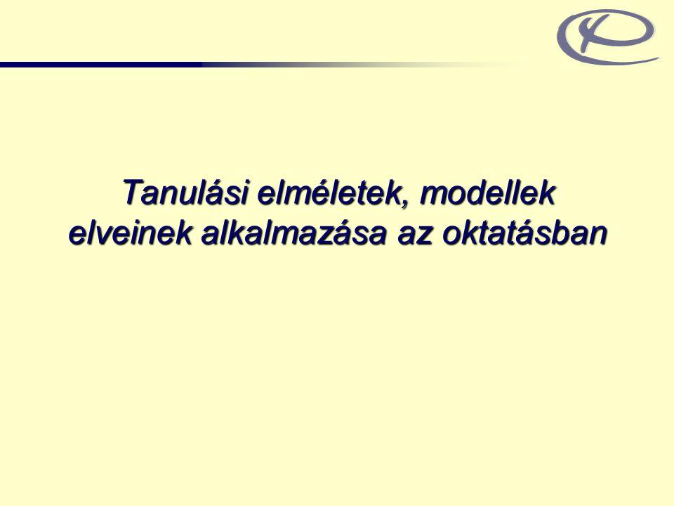 Tanulási elméletek, modellek elveinek alkalmazása az oktatásban