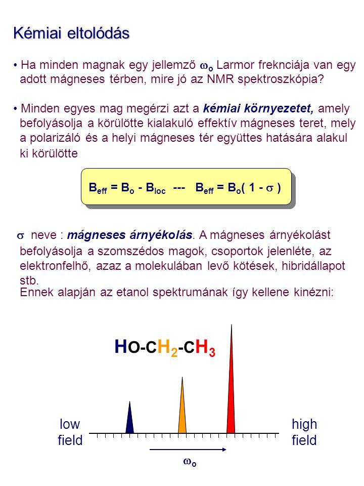 HO-CH2-CH3 Kémiai eltolódás low field high field