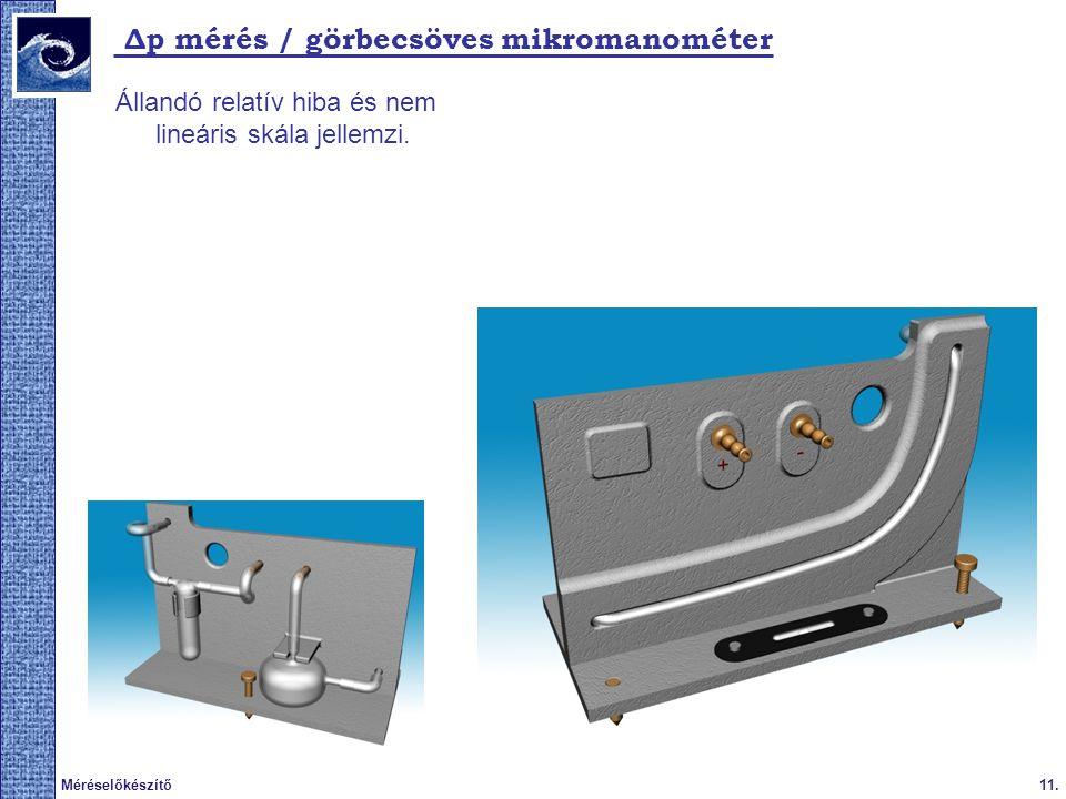 Δp mérés / görbecsöves mikromanométer
