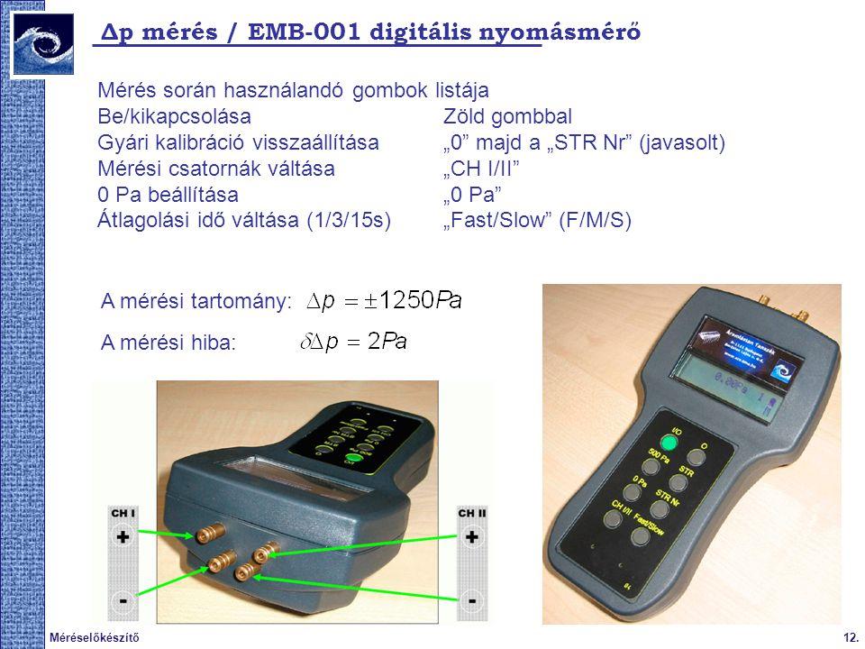 Δp mérés / EMB-001 digitális nyomásmérő