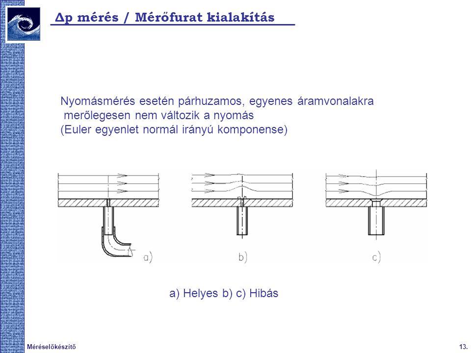 Δp mérés / Mérőfurat kialakítás