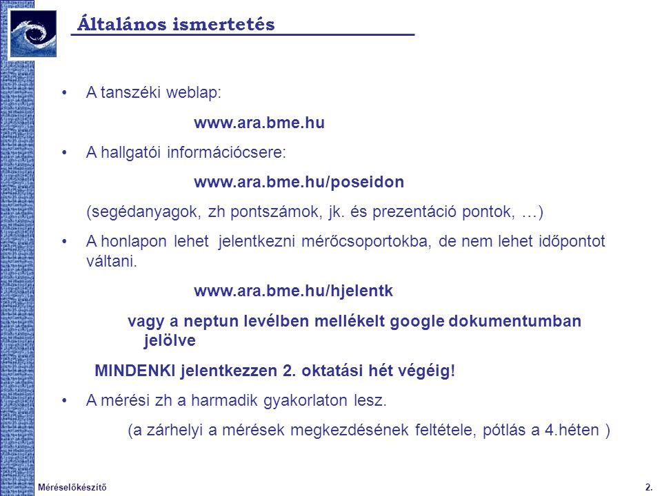 Általános ismertetés A tanszéki weblap: www.ara.bme.hu