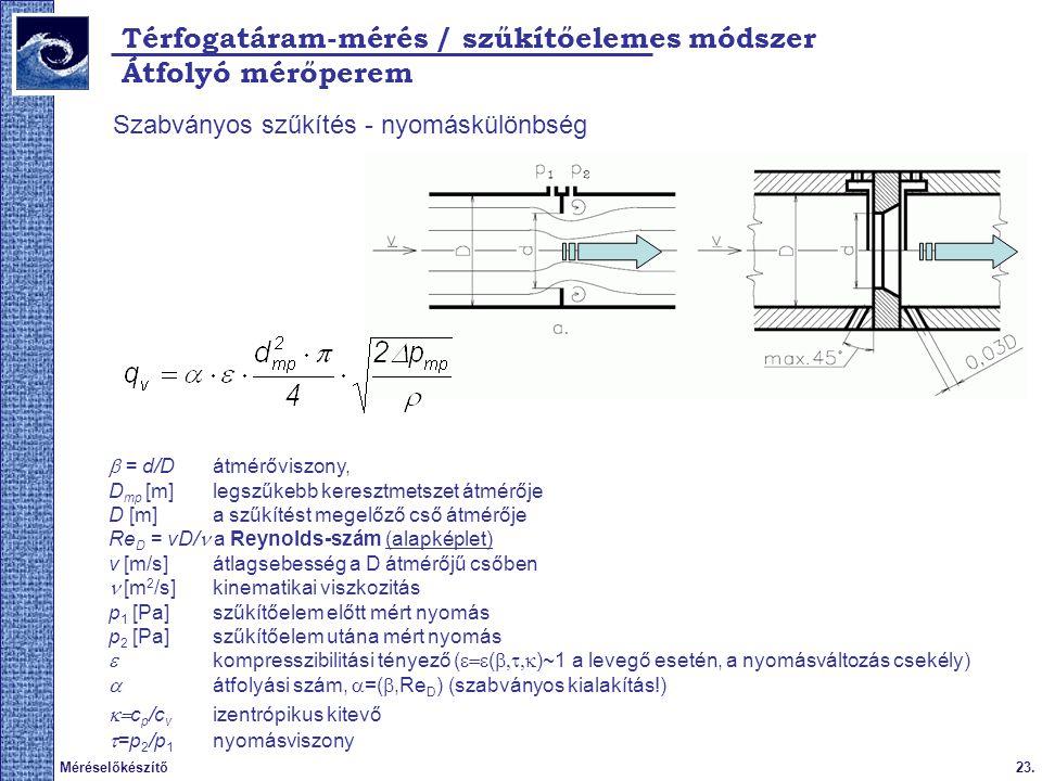 Térfogatáram-mérés / szűkítőelemes módszer Átfolyó mérőperem