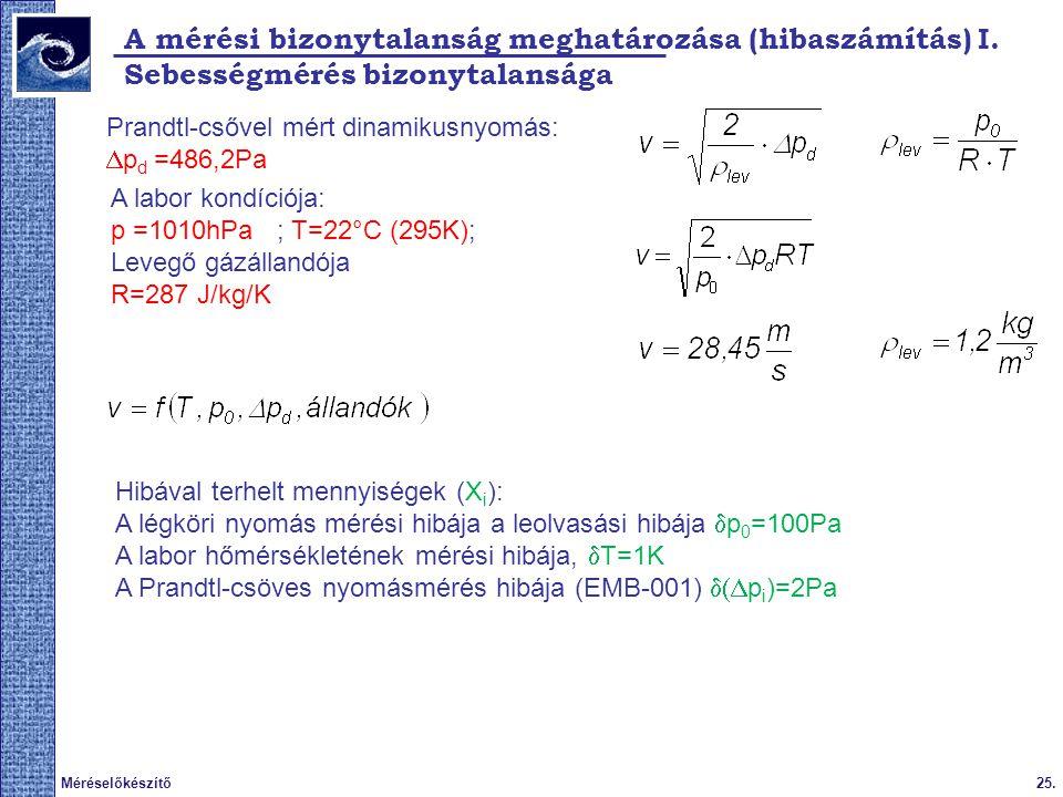 A mérési bizonytalanság meghatározása (hibaszámítás) I.