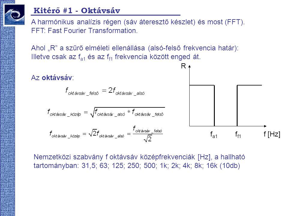 Kitérő #1 - Oktávsáv A harmónikus analízis régen (sáv áteresztő készlet) és most (FFT). FFT: Fast Fourier Transformation.
